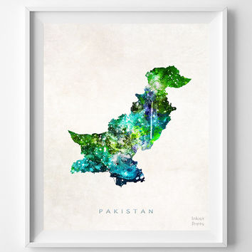 Pakistan Map, Asia, Print, Islamabad, Watercolor, Home Town, Poster, Country, Wall Decor, Painting, World, Living Room, Gift