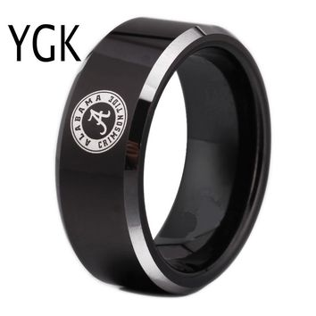 Free Shipping Customs Engraving Ring Hot Sales 8MM Black With Shiny Edges Alabama Design Tungsten Wedding Ring