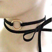 Gold Ring Choker Necklace