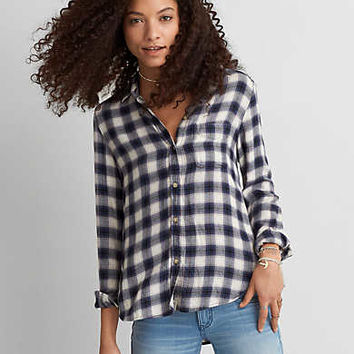 AEO Ahh-mazingly Soft Boyfriend Plaid Shirt , White