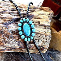 Turquoise Circle Bolo Necklace