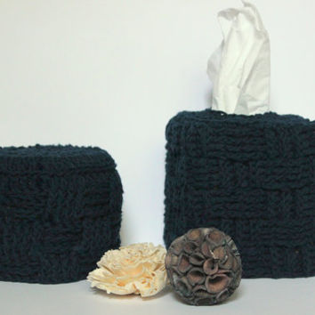 Bathroom Set, Crochet Toilet Paper Cover, Tissue Box Cover, Bathroom Decor, Navy Decor, Gift for the Home, Kleenex Box Cover