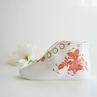Herend Baby Shoe Chinese Bouquet in Rust