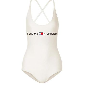 Tommy Hilfiger Fashion  New Bust Letter Print Swimming Straps One Piece Bikini Women White