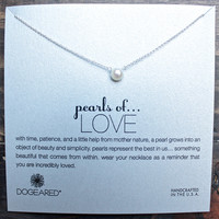 dogeared pearls of love white pearl necklace, sterling silver