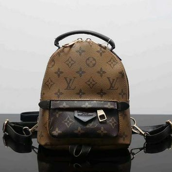 LV Women Casual School Bag Cowhide Leather Backpack G-LLBPFSH