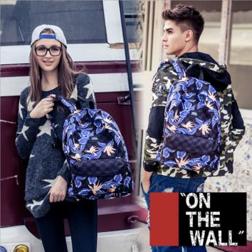 """Vans""Fashion Personality printing large capacity backpack bag leisure travel boom Hula irises(7 style)"