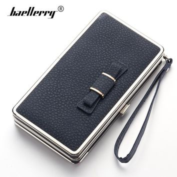 Baellerry New 2017 Luxury Design Women Wallet Metal Side Leather Mobile Phone Case Bag Bow Money Clutch Female Coin Purse Walle