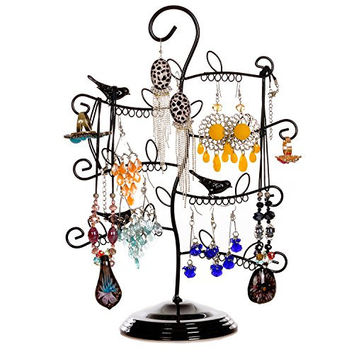 Lovely Tree Design Black Metal Earring Organizer Jewelry Storage Hanger Bracelet Holder Necklace Display Stand