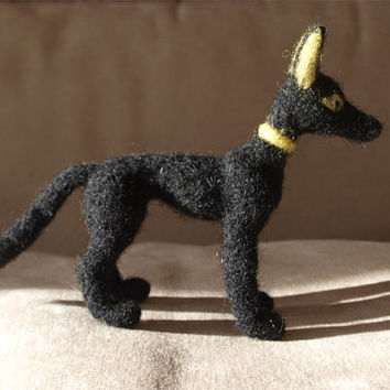 Needle Felted Plush Anubis Egyptian Jackal God of Afterlife