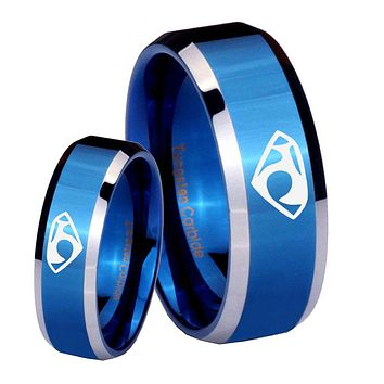 His Her Shiny Blue Bevel House of Van Two Tone Tungsten Wedding Rings Set