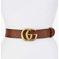 GUCCI Classic Popular Couple Smooth Buckle Belt Leather Belt+Gift Box Brown I/A