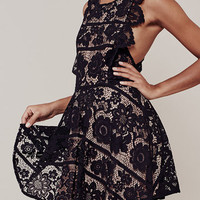 Black Lace With Lining Criss Cross Mini Dress