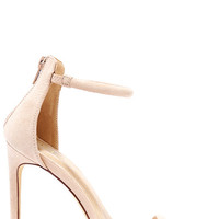 Do the Tango Nude Suede Ankle Strap Heels