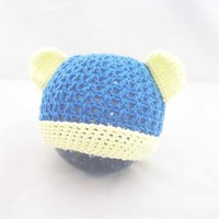 Baby Hat, Crochet Baby Hat, Baby Bear Hat, Newborn Baby Hat, Blue and Yellow Hat
