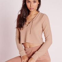 Missguided - Ribbed Lace Up Sweat Nude