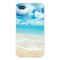 Apple Iphone Custom Case 5 / 5s White Plastic Snap on - Tropical Paradise Island Beach w/ White Sand & Blue Ocean