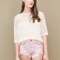 Pink tie-dye candy cutoff shorts by UNIF with silver stud detailing | shopcuffs.com