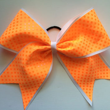 The Avery - Neon Orange Dot Cheer Bow