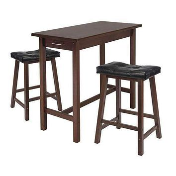 Marvelous 3pc Kitchen Table with Cushion Saddle Seat by Winsome Woods