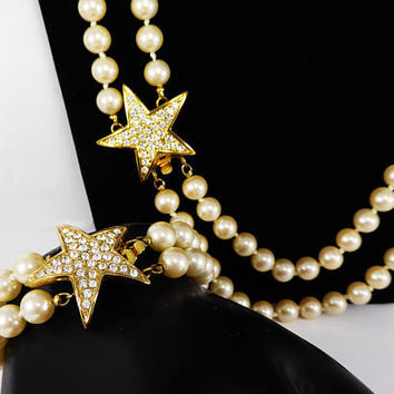 Rhinestone Star Necklace & Bracelet Set Signed Joan Rivers, Faux Pearl Beads, Gold Tone Stars, Clear Rhinestones, Vintage 1990s Celebrity