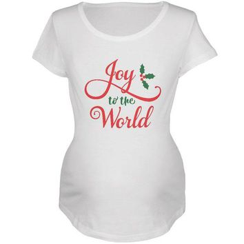 DCCKU3R Christmas Joy to the World Script Maternity Soft T Shirt