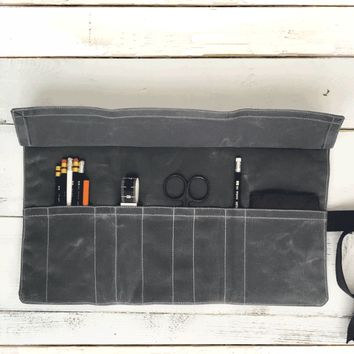 The Hawthorne Tool Roll No. 1 - Waxed Canvas Tool Roll with Included Notebook