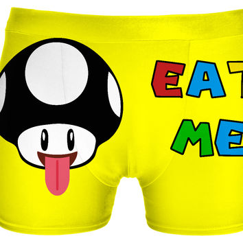 Eat me! Naughty yellow boyshorts for girls :) classic gaming style, nerdy design
