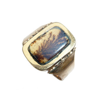 Georgian Dendritic Agate And Enamelled Plaque Swivel Mourning Ring - 1803