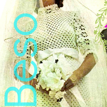 EASY TO CROCHET Romantic Wedding Dress Vintage Crochet Pattern 1970s Exquisite Bridal Gown Instant Download PdF Ladies Feminine Maxi