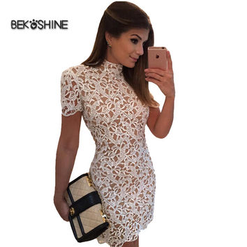 New 2017 Fashion Hollow Out Sexy Elegant White Lace Party Dress High Quality Women Casual Dresses Vestidos
