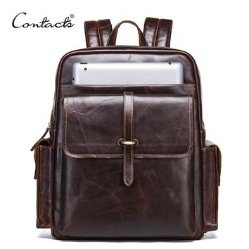 100% cowhide leather backpack for 13 inch laptop man bags large travel bags