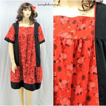 Hawaiian tent dress size 3X Royal Hawaiian Creations plus size tropical print Hawaii red  /  black muu muu SunnyBohoVintage