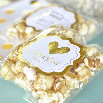 Personalized Metallic Foil Caramel Popcorn - Wedding