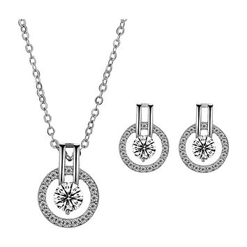 """Cubic Zirconia Necklace & Cubic Zirconia Earrings-Hollywood Sensation's-""""Linda"""" Necklace and Earring Set"""