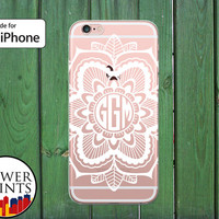 White Monogram Henna Flower Art Mandala Tumblr Cute Clear Phone Case for iPhone 5/5s and 5c and iPhone 6 and 6 Plus and iPhone 6s iPhone SE