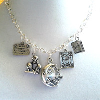 Fortune Teller Charm Necklace, Fortune Teller Jewelry,  Ouija Board, Sun And Moon, Palm Reader. Tarot Cards, Psychic Jewelry, Wiccan Jewelry
