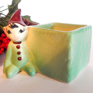 Elf Trinket Dish Green Ceramic Pixie Planter Hand Painted Sprite  Fairy Imp Gnome Collectible Vintage 1950's Home Decor