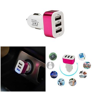 5 Colors 3 USB Port Phone Charger Car