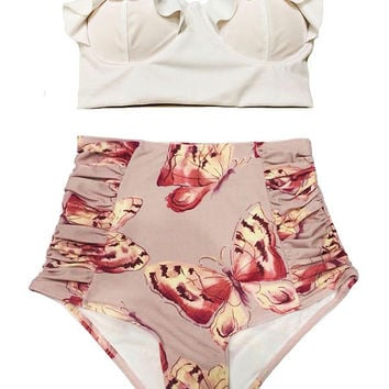 Swimwear, Swimsuit, Bathing suit, Bikini, White Midkini Top and Pink Gold Butterfly Bottom Swimsuit Swim Bathing suit suits Beachwear S M