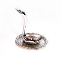 Swan Ring Holder Jewelry Tray / Silver Plated Metal