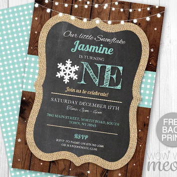 Snowflake Birthday Invite Turning One 1st Boy's Girl's Twins INSTANT DOWNLOAD Our Little First Invitation Snowflake Party Printable Editable