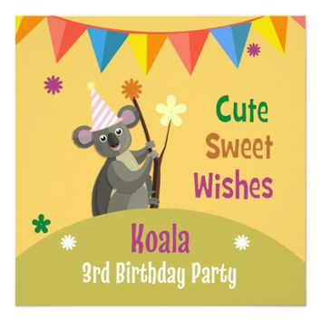 Colorful Koala Birthday Party Invitation