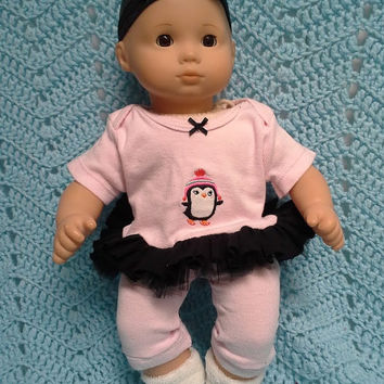 "AMERICAN GIRL Bitty Baby Clothes ""Petite Penguin"" (15 inch) doll outfit dress leggings booties socks  headband winter pink and black A8"