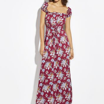 Chicloth Red Drawstring Flower Print Backless Maxi Dress