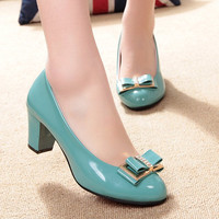 Free shipping 2016 spring and autumn bow low low-heeled shoes thick heel casual female leather  BAOK-2ee3