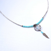 Vintage Turquoise Dreamcatcher Necklace - Bohemian Hippie Jewelry