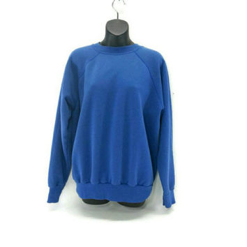 Vintage Blue Crew Neck Sweatshirt XL, Soft, Worn,Vintage Clothing, 80's Fashion,Raglan, Oversized, Fall Fashion, Unisex, Electric Blue