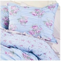 Simply Shabby Chic Ruched Blue Duvet Cover Set Twin Bedding & Ruffled Sham Set