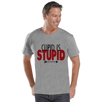 Men's Valentine Shirt - Funny Valentine Shirt - Cupid Is Stupid Tee - Happy Valentines Day - Anti Valentines Gift for Him - Grey Shirt